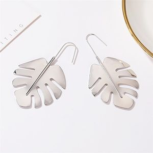 Boho Festival Silver Palm Tropical Leaf Earrings